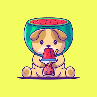 Netter hund, der wassermelone-kostüm-karikatur-illustration trägt. tierflaches cartoon-stil-konzept