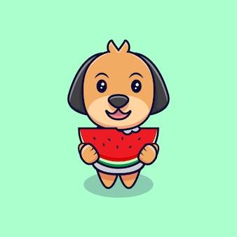Netter hund, der wassermelonen-karikatur-symbol-illustration isst. flacher cartoon-stil