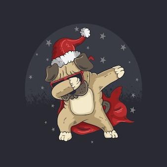 Netter hund, der weihnachtsmütze trägt und tanzillustration tupft