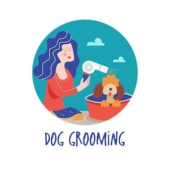 Netter hund im friseursalonfrau macht einen haarschnitthund hundepflegekonzept