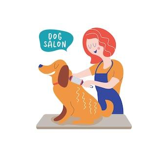 Netter hund im groomersalon. frau, die hund kämmt. konzept der hundepflege. handgezeichnete vektor-illustration. vektorillustration für tierfriseursalon, styling- und pflegegeschäft, tierhandlung für hunde und katzen.