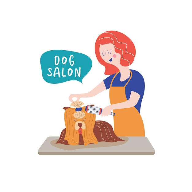 Netter hund im groomersalon. frau kämmt hund. konzept der hundepflege. handgezeichnete vektor-illustration. vektorillustration für tierfriseursalon, styling- und pflegegeschäft, tierhandlung für hunde und katzen.