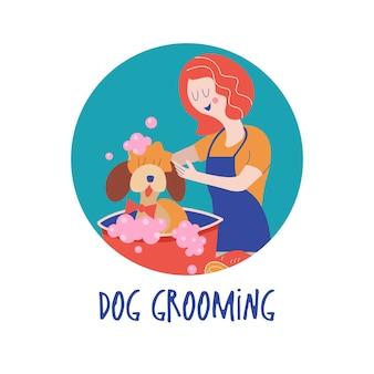 Netter hund im groomersalon. frau wäscht hund. konzept der hundepflege. handgezeichnete vektor-illustration. vektorillustration für tierfriseursalon, styling- und pflegegeschäft, tierhandlung für hunde und katzen