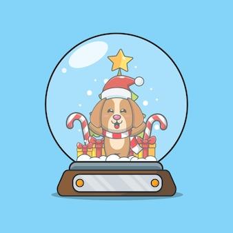 Netter hund in der schneekugel nette weihnachtskarikaturillustration