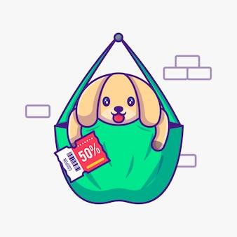 Netter hund in der tasche, die rabatt-gutschein-karikatur-illustration hält. tierflaches cartoon-stil-konzept