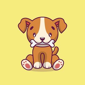 Netter hund isst knochenkarikaturillustration