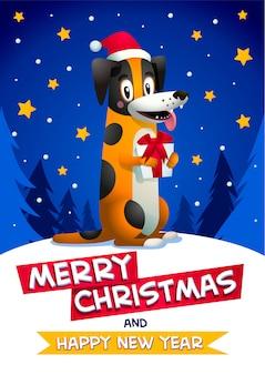 Netter hund mit frohen weihnachten und frohes neues jahr inschrift
