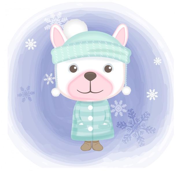 Netter hund mit gezeichneter illustration der schneeflocke hand