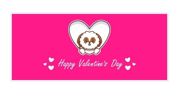 Netter hund mit glücklichen valentinstag-gruß-karte, flach.