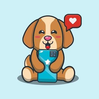 Netter hund mit handykarikaturillustration