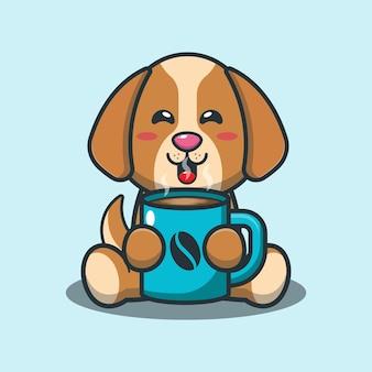 Netter hund mit karikaturillustration des heißen kaffees