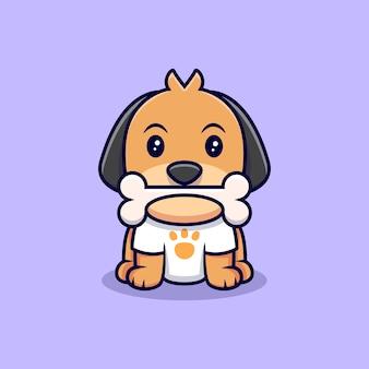 Netter hund mit knochen cartoon icon illustration. flacher cartoon-stil