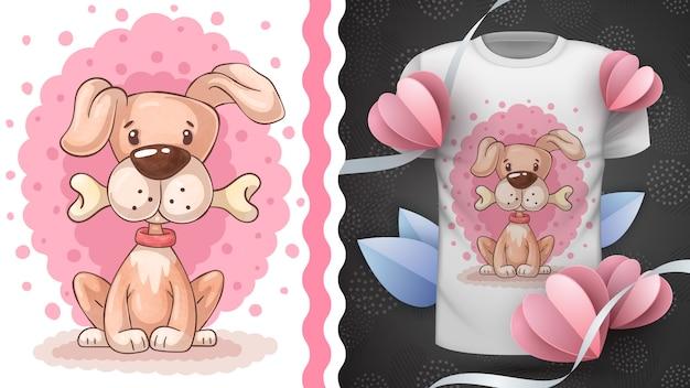 Netter hund mit knochenidee für druck-t-shirt