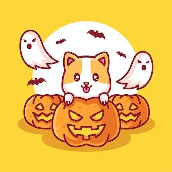 Netter hund mit kürbis und geister-halloween-logo-vektor-symbol-illustration im flachen stil
