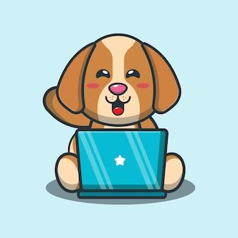 Netter hund mit laptopkarikaturillustration