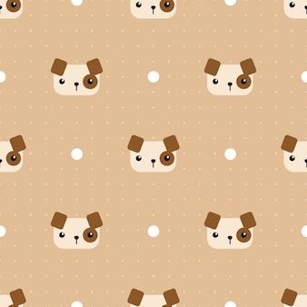 Netter hund mit nahtlosem muster der punktkarikatur