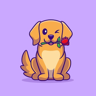 Netter hund mit rosen-blumen-karikatur-illustration