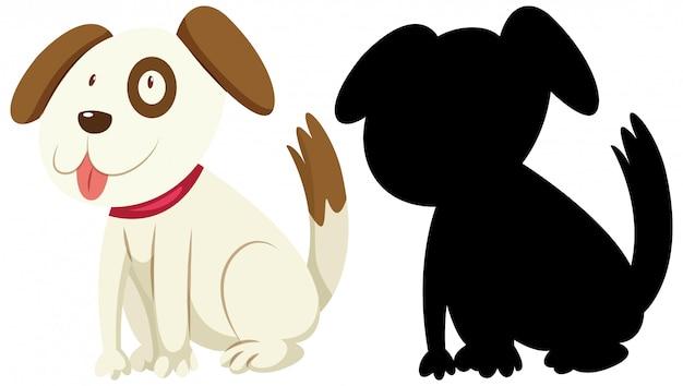 Netter hund mit seiner silhouette