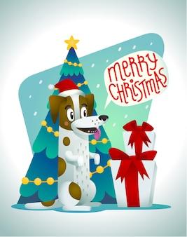 Netter hund mit weihnachtsgeschenken und sprechblase, die frohe weihnachten sagen
