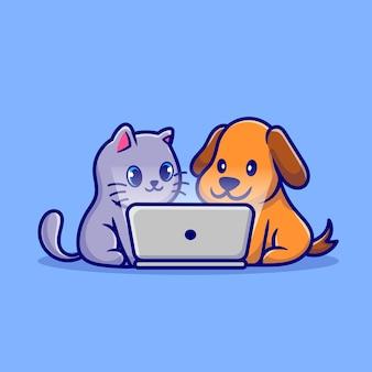 Netter hund und nette katze schauen zusammen auf laptop-karikatur-illustration zu