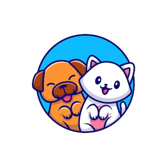 Netter hund und nette katzen-karikatur-illustration