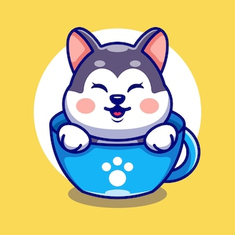 Netter husky auf tasse kaffee cartoon