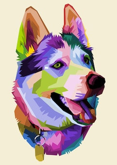 Netter husky-hund auf pop-art-stil.
