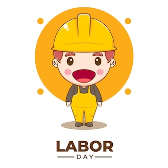 Netter ingenieur, der karikaturillustration des arbeitstages feiert