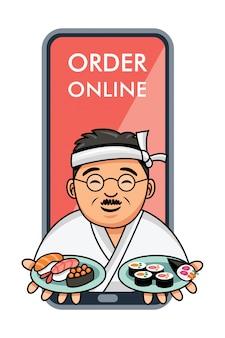 Netter japanischer koch der karikatur, der teller des sushi dient, online-bestellung