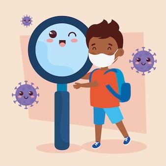 Netter junge afro, der medizinische maske trägt, um coronavirus covid 19 mit niedlicher lupe zu verhindern