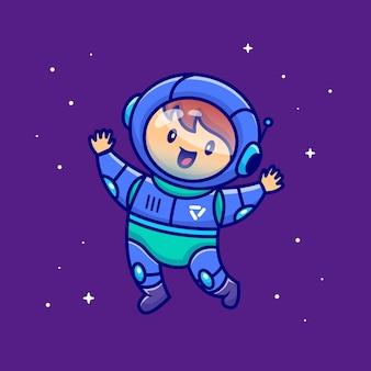 Netter junge astronaut, der auf raum schwimmt