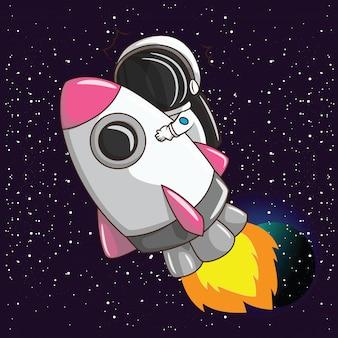 Netter junge auf astronus kostüm. traumberufskonzept.