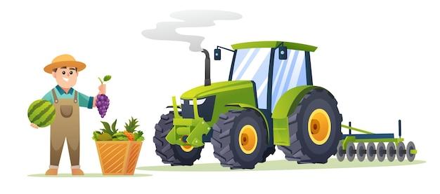 Netter junge bauer mit frischen früchten und traktorillustration