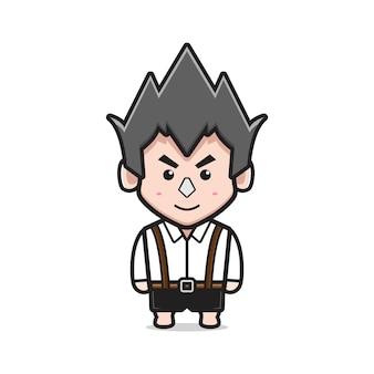 Netter junge charakter cartoon symbol vektor-illustration. entwerfen sie isolierten flachen cartoon-stil