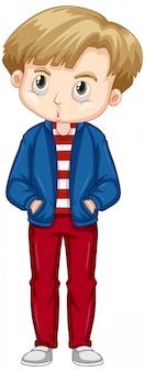Netter junge, der blaue jacke und rote hosen trägt