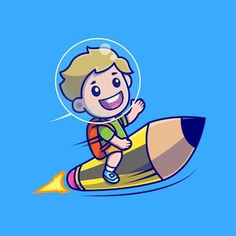 Netter junge, der bleistift-raketen-karikatur reitet