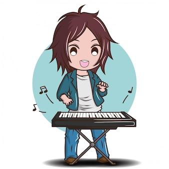 Netter junge, der die elektrische tastatur spielt., karikaturmusikkonzept.