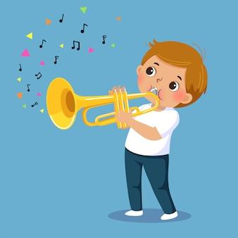 Netter junge, der die trompete spielt
