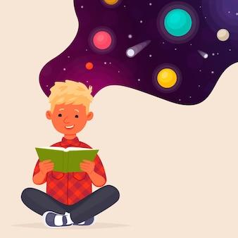 Netter junge, der ein buch über raum und planeten liest. bildung.