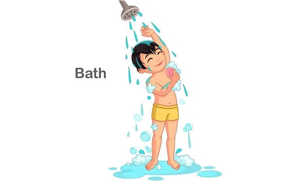Netter junge, der eine badvektorillustration nimmt