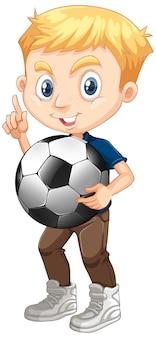 Netter junge, der fußball hält
