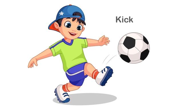 Netter junge, der fußball-illustration tritt