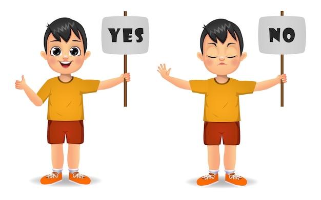 Netter junge, der ja und nein mit zeichen sagt