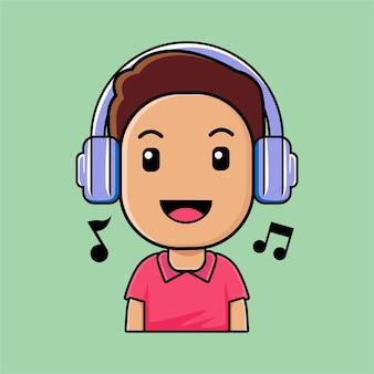 Netter junge, der kopfhörer trägt, der musikkarikaturillustration hört