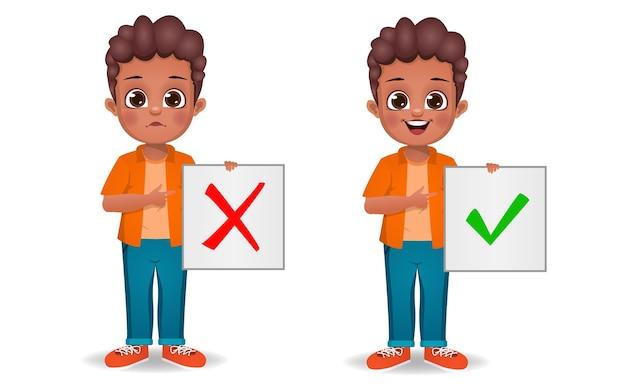 Netter junge, der korrektes und falsches zeichen zeigt