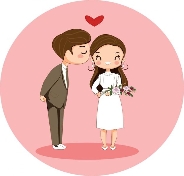 Netter junge, der mädchenzeichentrickfilm-figur für valentinsgrußkonzept küsst