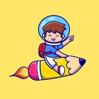Netter junge, der mit bleistift-raketen-karikatur fliegt