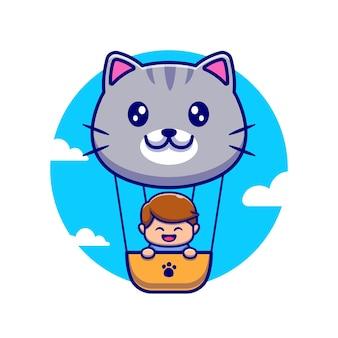 Netter junge, der mit niedlichem katzen-luftballon fliegt