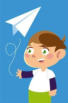 Netter junge, der mit papierflugzeugkarikatur, kinderillustration spielt