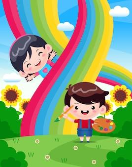 Netter junge, der regenbogen mit glücklichem mädchen malt